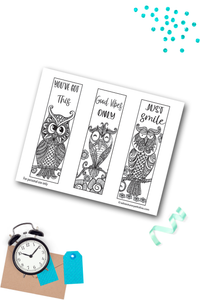 Owl Coloring Bookmark