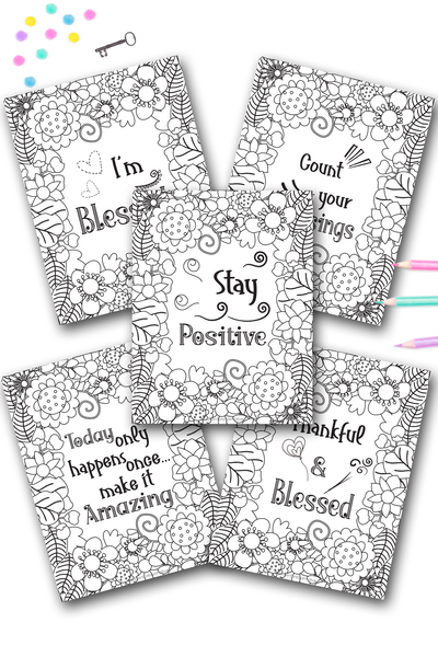 I Am Blessed Adult Coloring Sheet Set