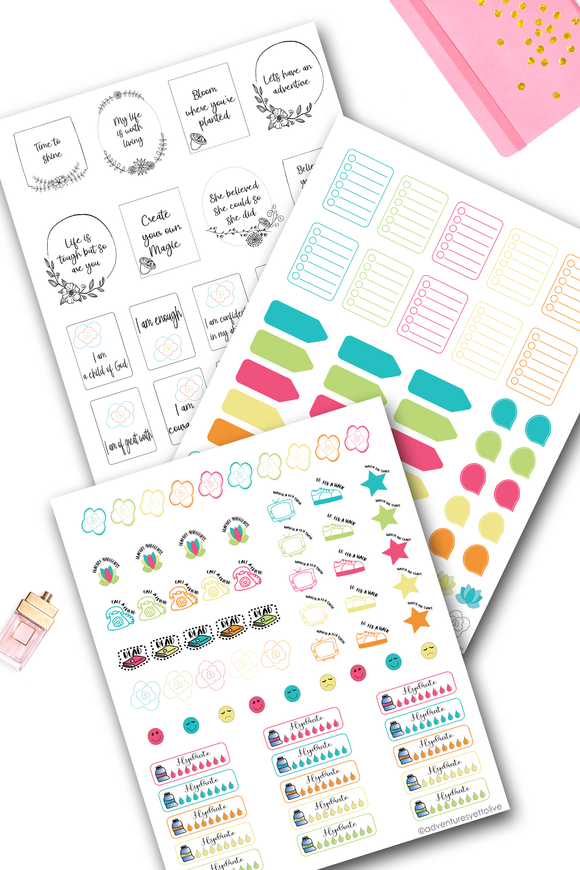 Print Your Own Self Care and Wellness Stickers