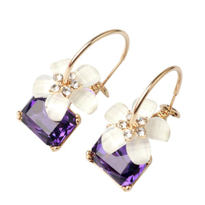 Ladye Daily Sweet Flower with Big Square Rhinestone Dangle Earrings, 925 Sterling Silver Leverback Allergy Free