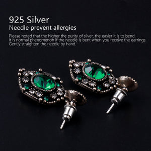 Ladye Palace Style Emerald Dangle Earring,925 Sterling Silver Stud Allergy Free