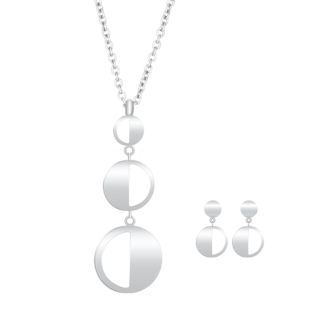 Ladye Geometry Circle Shape Silver Necklace and Dangle Drop Earring Jewelry Set, Allergy Free Fashion Jewelry