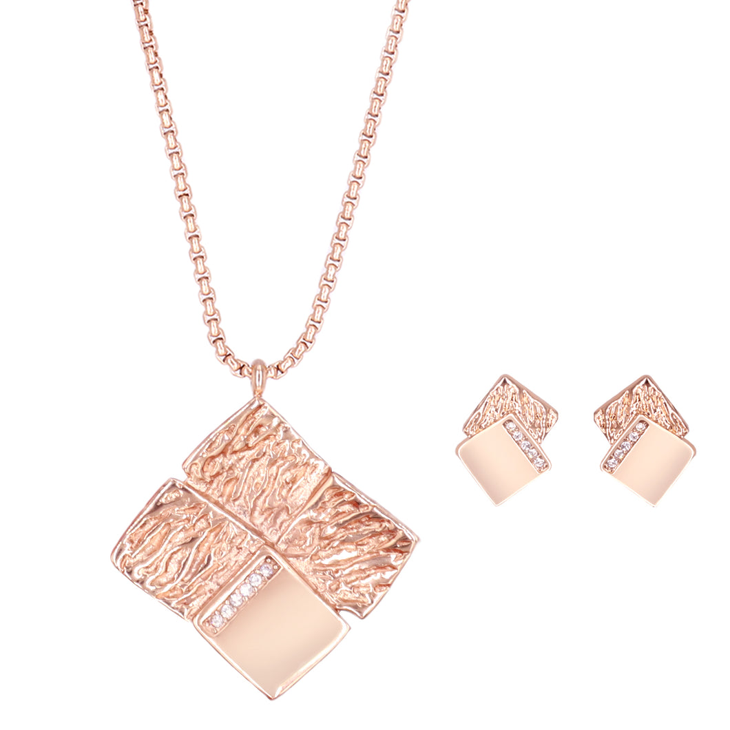 Ladye Personality Style Geometry Gold Plated Necklace and Stud Earring Jewelry Set , Allergy Free Fashion Jewelry
