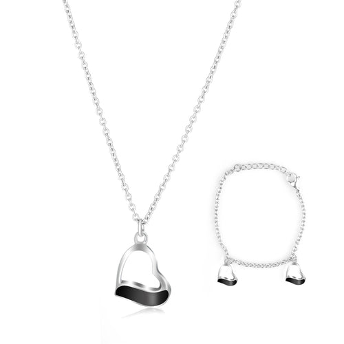 Ladye Heart Shape Silver Necklace and Bracelet Jewelry Set, Allergy Free Fashion Jewelry