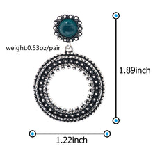 Load image into Gallery viewer, Ladye Geometry Circle Hoops Green Cat's Eye Gem Dangle Earring, 925 Sterling Silver Stud Allergy Free