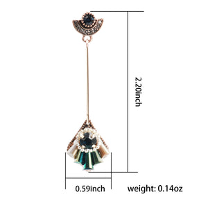 Ladye Fan Shaped Color Crystal Long Tassel Drop Earring,925 Sterling Silver Stud Allergy Free