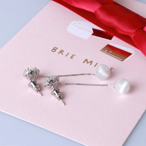 Ladye Daily White Cat's Eye Gem Long Tassel Diamond Dangle Earrings, 925 Sterling Silver Stud Allergy Free
