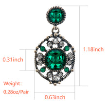 Load image into Gallery viewer, Ladye Palace Style Emerald Dangle Earring,925 Sterling Silver Stud Allergy Free
