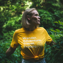 Load image into Gallery viewer, Wander. Adventure. Travel. Explore. T-Shirt (Yellow)