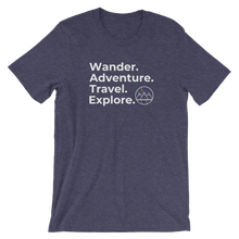 Load image into Gallery viewer, Wander. Adventure. Travel. Explore. T-Shirt (Heather Navy)