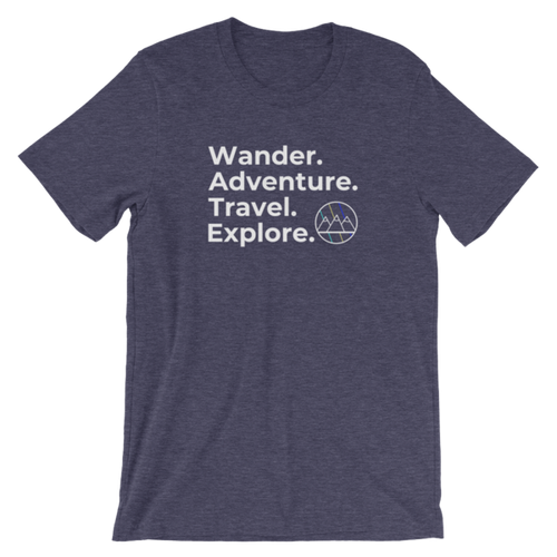 Wander. Adventure. Travel. Explore. T-Shirt (Heather Navy)