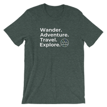 Load image into Gallery viewer, Wander. Adventure. Travel. Explore. T-Shirt (Heather Green)