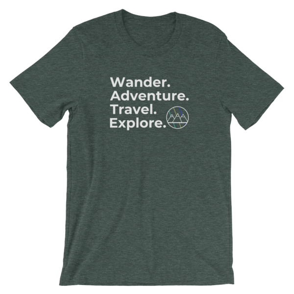 Wander. Adventure. Travel. Explore. T-Shirt (Heather Green)