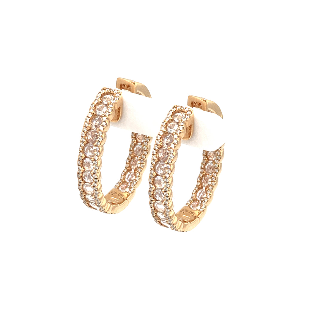 Everyday Sparkle 18K Rose Gold with Diamonds Hoop - Earrings