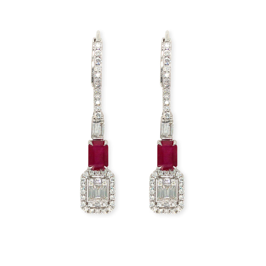 Forever Yours 18K white Gold with Diamonds and Ruby Earrings