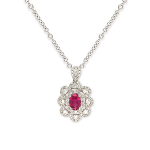 Forever Yours white Gold with Diamond and Ruby Necklace