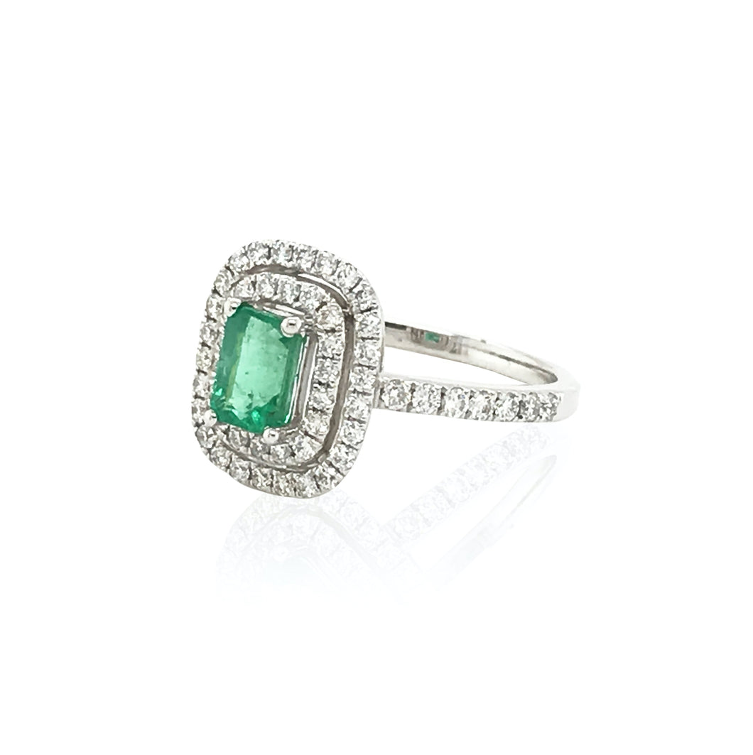 18K White Gold Timeless Baguette Ring with Emeralds & Diamonds