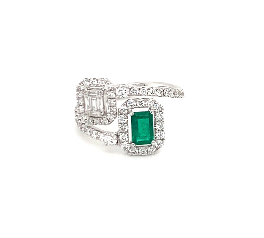 Timeless Baguette, ring, 18K gold, white gold, emerald