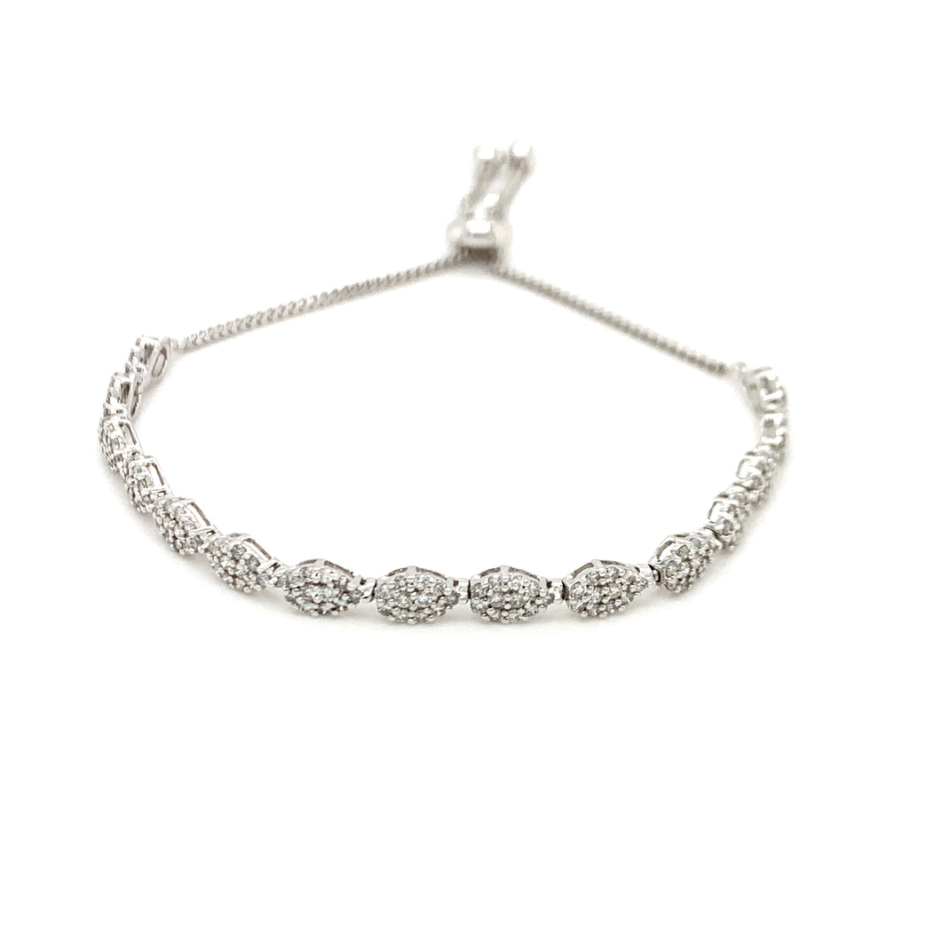 Everyday Sparkle White Gold with Diamonds Bolo Bracelet