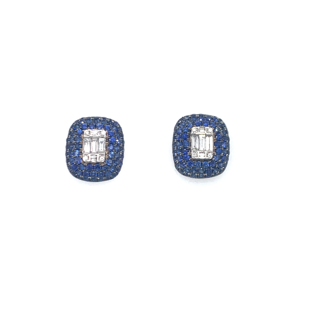 Timeless Baguette, earrings, 18K gold, white gold, Sapphire