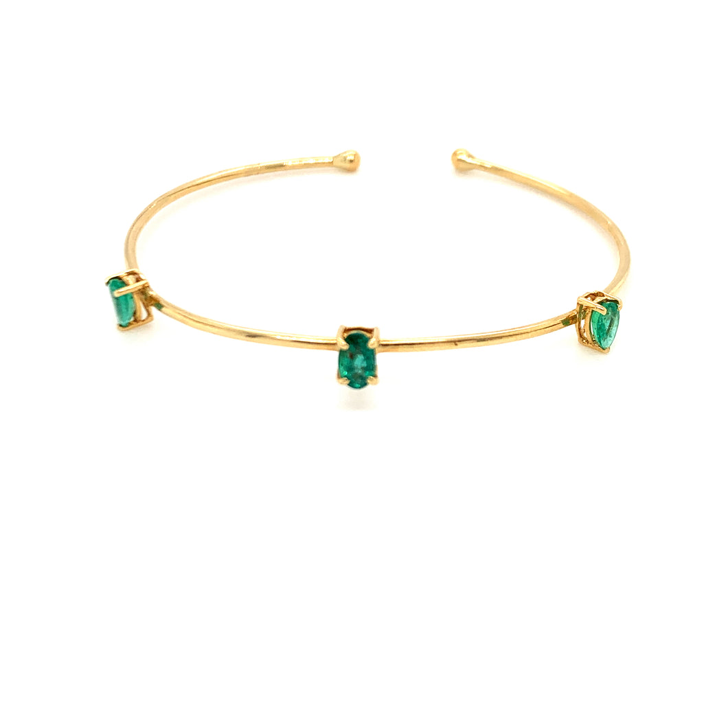 Everyday Sparkle Yellow Gold with Emerald Bangle Bracelet