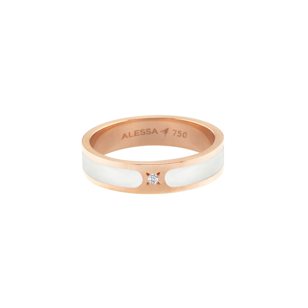 18k Rose Gold Spectrum Space Ring with diamond - Gold  3.71g