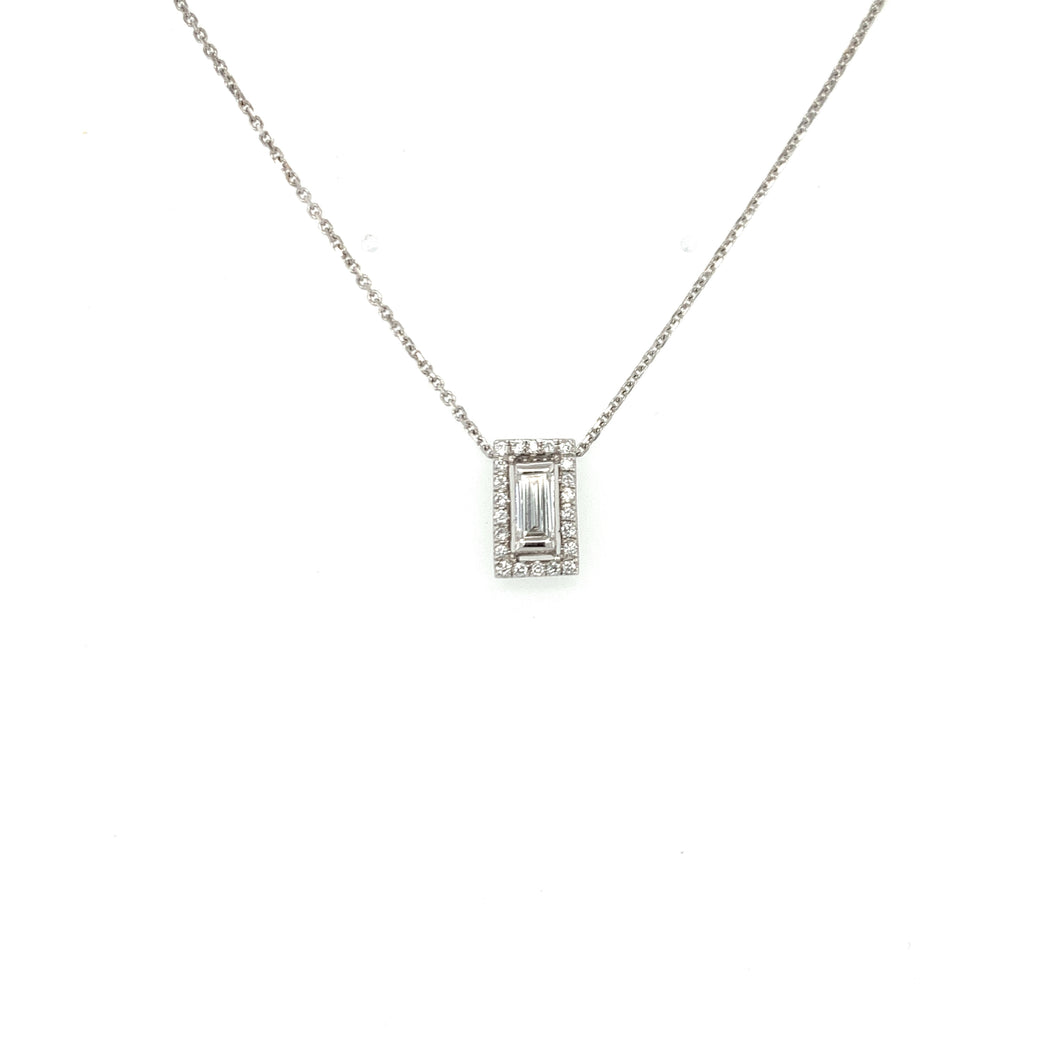 Everyday Sparkle White Gold with Diamonds & Baguette Necklace