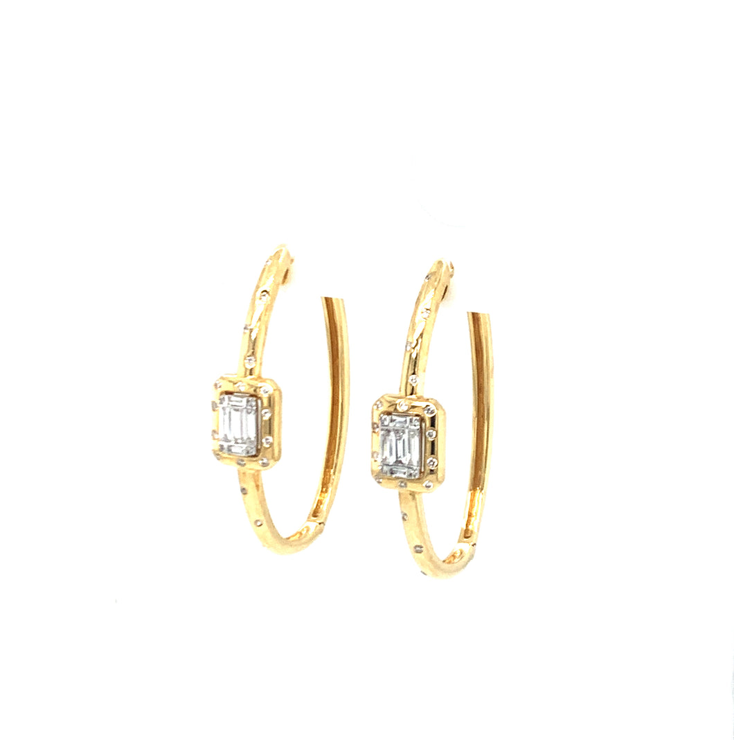 Timeless Baguette, earrings, 18K gold, yellow gold, hoop