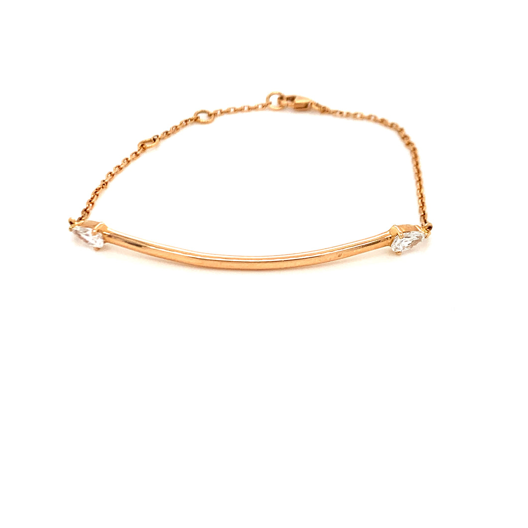 Everyday Sparkle Rose Gold with Marquise Diamonds Bolo Bracelet