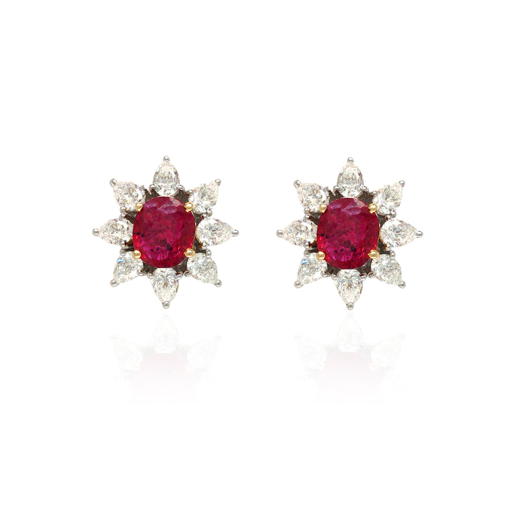 Forever Yours White Gold with Diamond And Ruby Earring