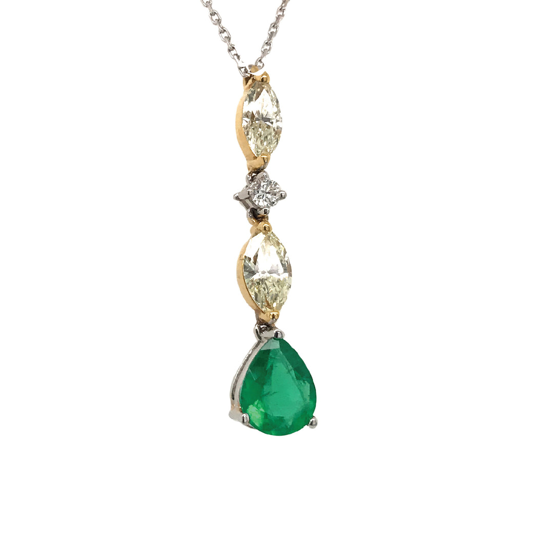 Everyday Sparkle White Gold with Emerald & Diamonds Necklace