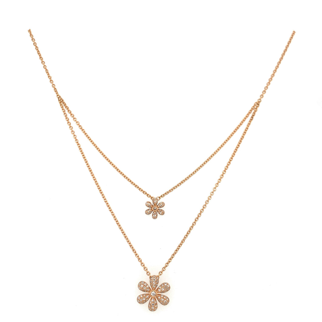 Everyday Sparkle Rose Gold with Diamonds Double Floral Necklace