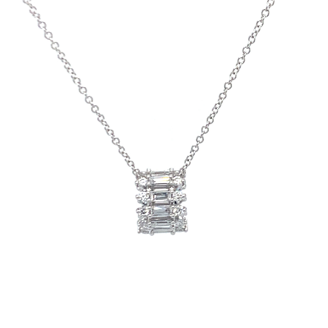 Timeless Baguette, necklaces, pendant, 18K gold, white gold