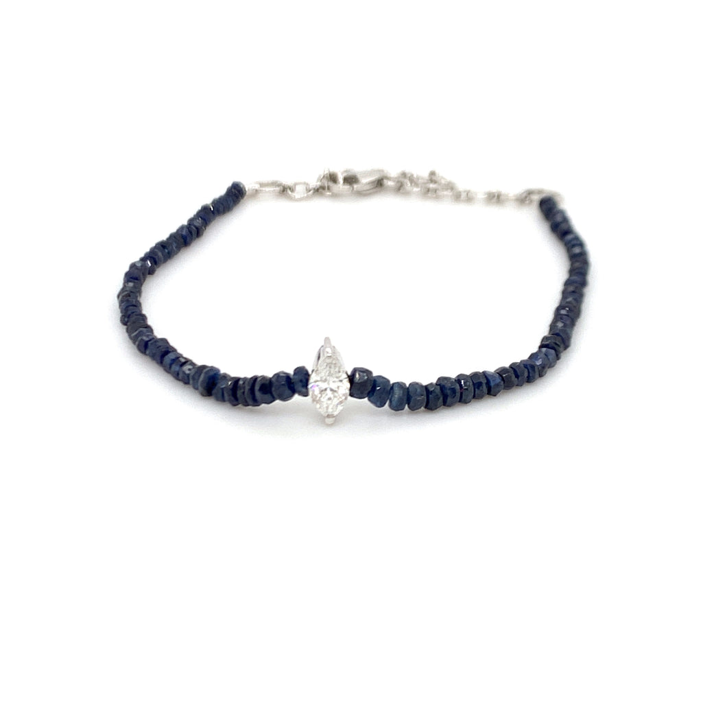 Forever Yours White Gold with Marquise Diamond and Blue Sapphire Bracelet