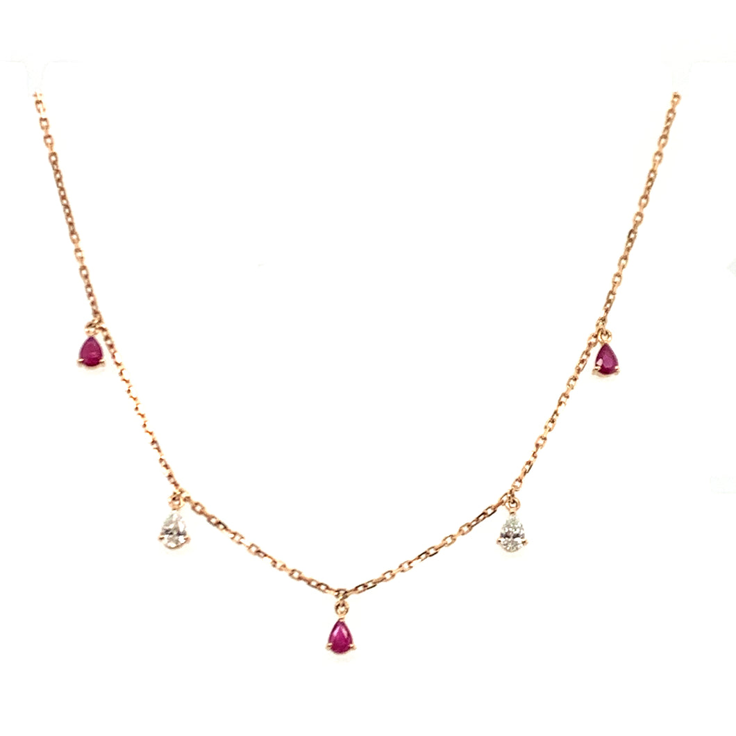 Forever Yours Yellow Gold with Diamond and Ruby Necklace