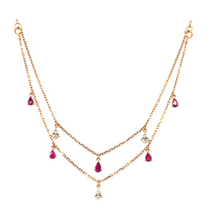 Forever Yours Yellow Gold with Diamond and Ruby Double Necklace
