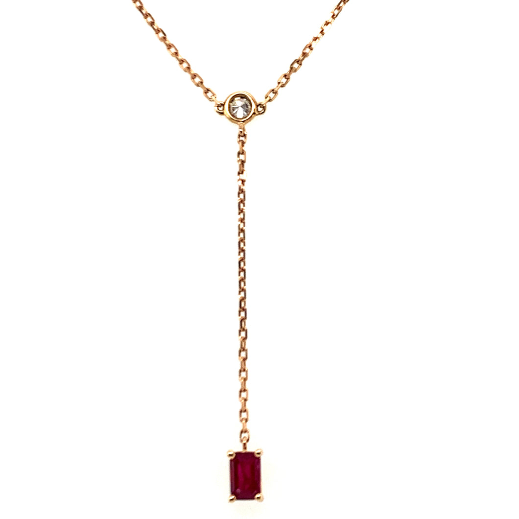 Forever Yours Yellow Gold with Diamond and Ruby Chain Drop Necklace