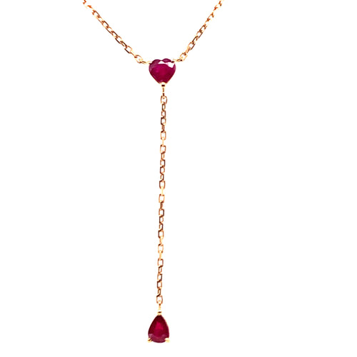 Forever Yours Yellow Gold with Ruby Chain Drop Necklace