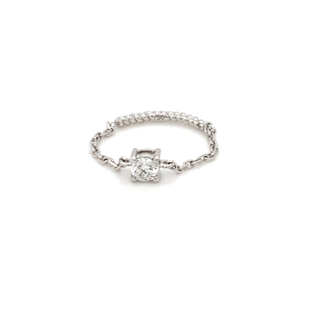 Everyday Sparkle White Gold with Diamond Chain Ring