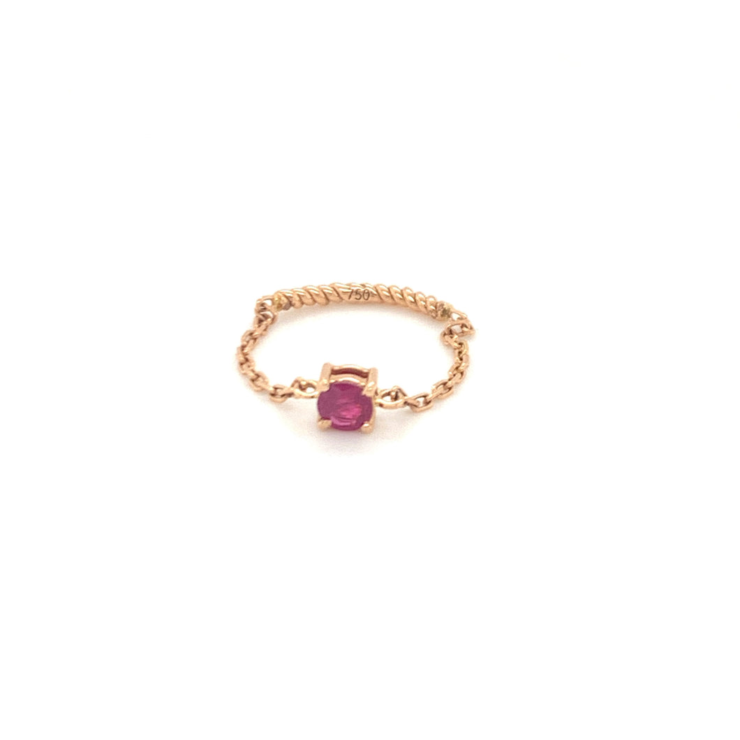 Forever Yours Yellow Gold with Ruby Chain Ring