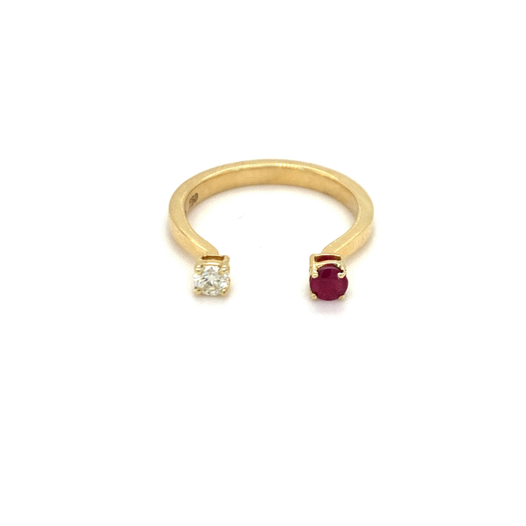 Forever Yours Yellow Gold with Diamond and Ruby Ring