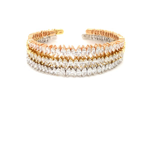 Everyday Sparkle White rose yellow Gold with Marquise Diamond Bangle