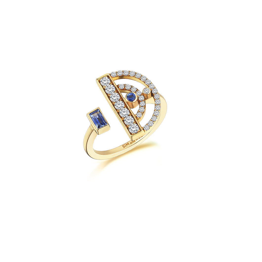 Yellow Gold Polaris Ring With Sapphires