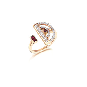 Rose Gold Polaris Ring With Ruby