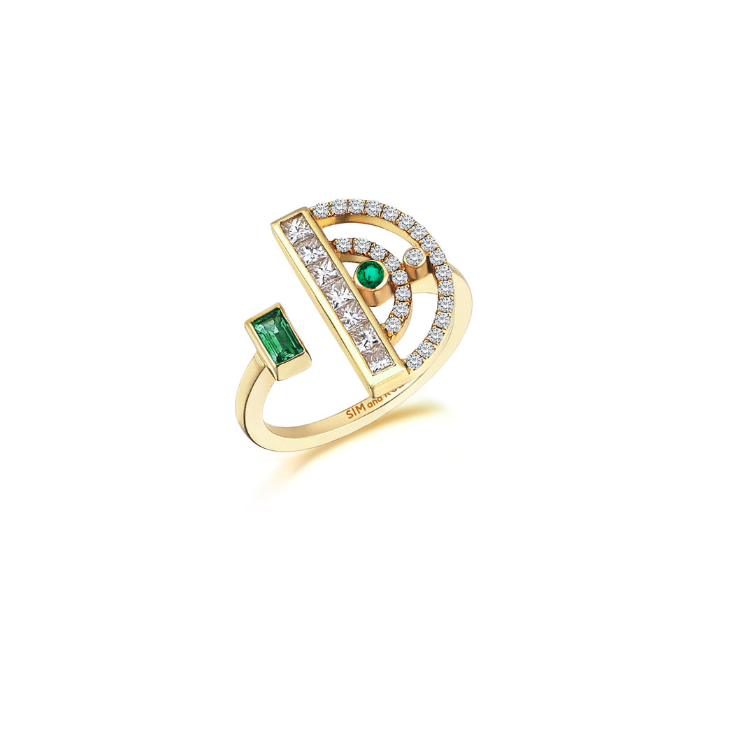 Rose Gold Polaris Ring With Emeralds