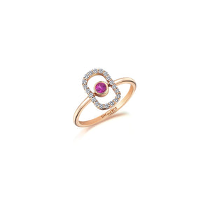 Rose Gold Orb Ring With Pink Sapphires