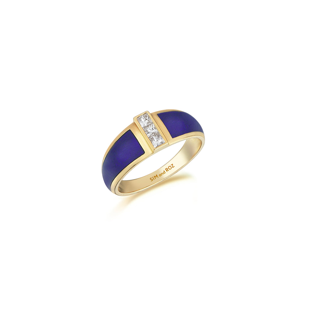 Yellow Gold Alignment Ring With Diamonds
