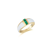 Load image into Gallery viewer, Yellow Gold Alignment Ring With Emeralds