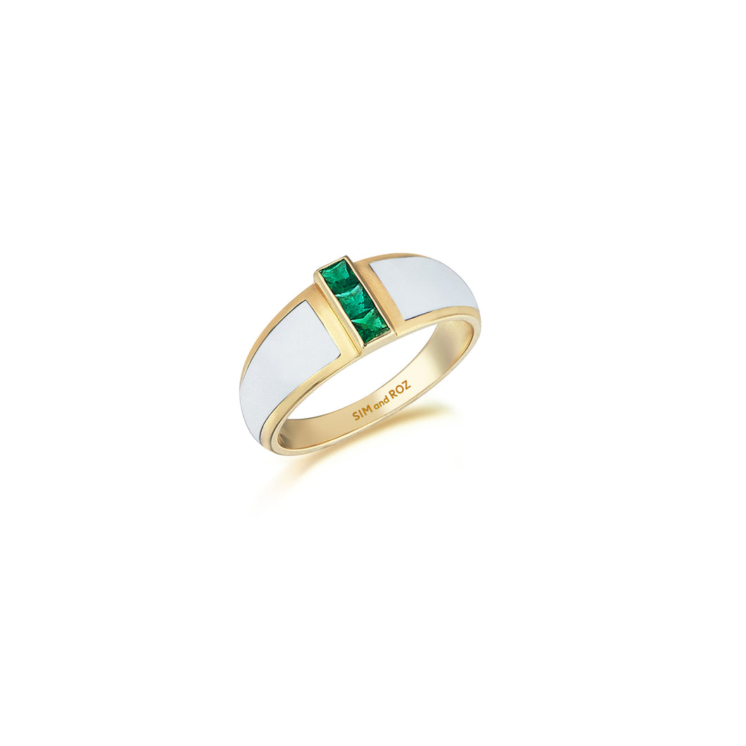Yellow Gold Alignment Ring With Emeralds