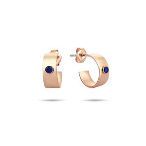 Rose Gold Mini Earrings- Hoops- With Blue Sapphires